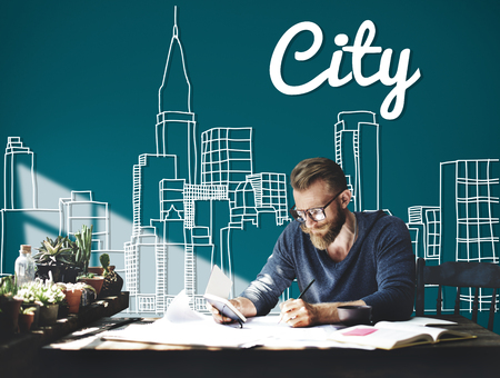 Man working in a city concept Stock Photo