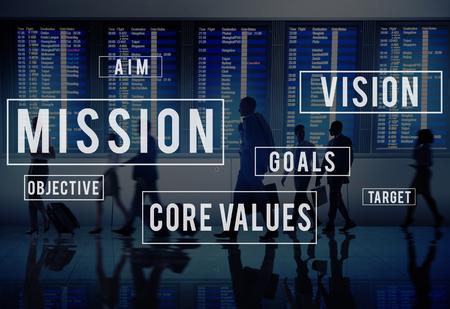 Mission Motivatie Doelstelling Plan Aspiration Concept Stockfoto