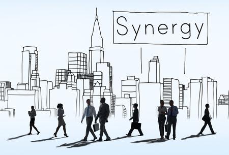 sinergia: Interacción del Equipo de Synergy Concepto Organización de Cooperación Foto de archivo