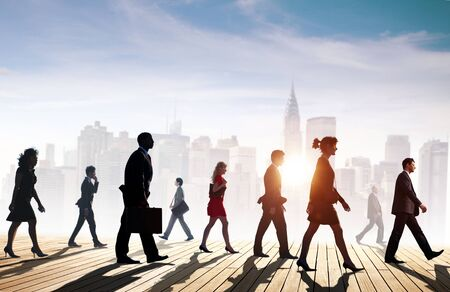 building exteriors: Business Team Walking Teamwork Cityscape Concept Stock Photo