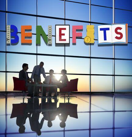 advantage: Benefits Advantage Assests Bonus Wages Concept