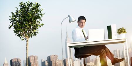 Business Man Green Office Rooftop Concept Stock Photo