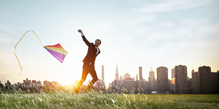 Zakenman spelen Kite Lifestyle Concept Ontspanning Stockfoto