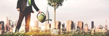 crecimiento planta: El riego Crecimiento concepto de conservación del medio ambiente de plantas