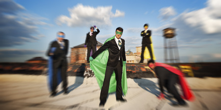 conquering: Superhero Achievement Conquering Lerdership Concept Stock Photo