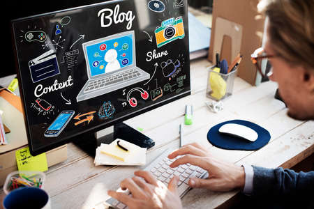 business lifestyle: Blog Homepage Content Social Media Online Concept