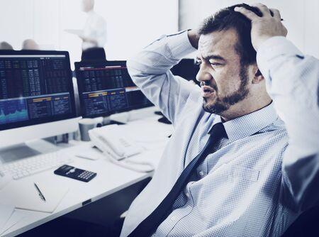 recession: Businessman Stress Recession Financial Crisis Concept Stock Photo