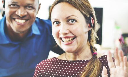 neighbourly: Colleague Friends Smiling Cheerful Workplace Concept