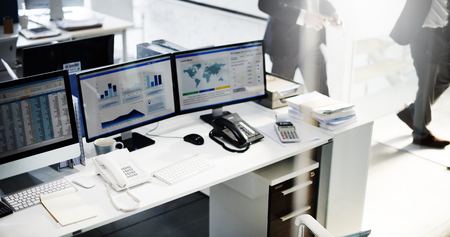 spread sheet: Workplace Marketing Accounting Place of Work Concept Stock Photo