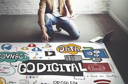 go: Go Digital Technology Information Network E-business Concept