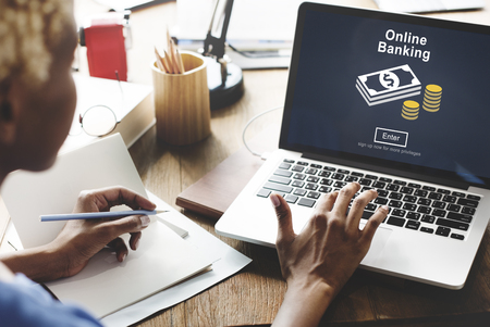 banking concept: Online Banking Financial Transaction Technology Concept Stock Photo