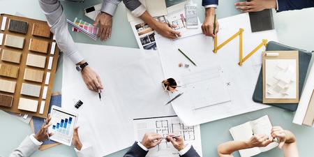 Geschäftsleute Planung Blueprint Architektur Konzept