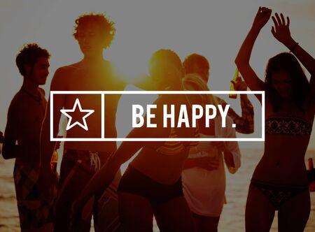 Seien Sie glücklich Glück Entspannung Vergnügen Positivität Konzept