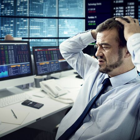 stressed business woman: Businessman Stress Failed Unsuccessful Stock Concept