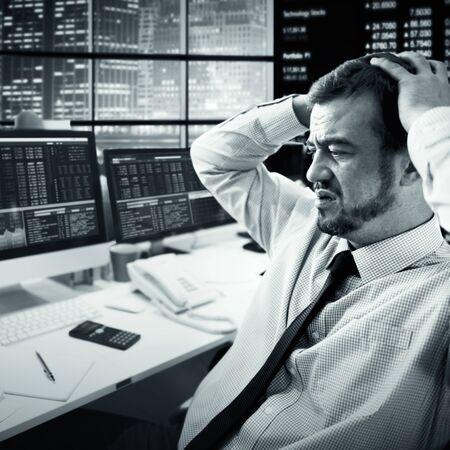 financial crisis: Businessman Stress Recession Financial Crisis Concept Stock Photo