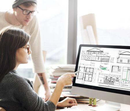 construction project: Blueprint Architect Construction Project Sketch Concept Stock Photo
