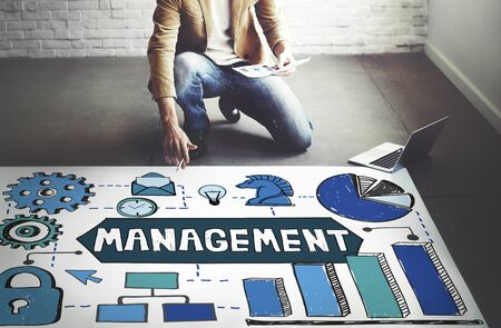 financial gains: Management Organization Leadership Strategy Concept Stock Photo