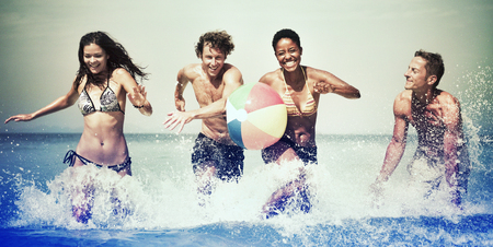 away from it all: Group of People Summer Beach Vacation Carefree Concept
