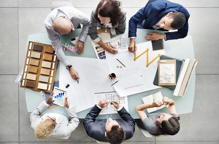 Biznes Ludzie Planowanie Blueprint koncepcja architektury