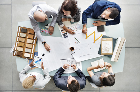 Business People Planning Blueprint concetto di architettura
