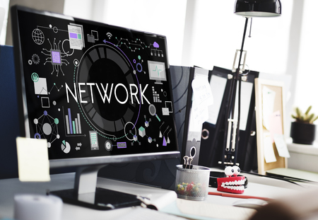 Computer with network concept Stock fotó