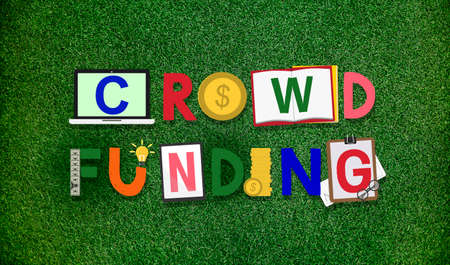 fundraising: Crowdfunding Fundraising Contribution Investment Concept Stock Photo