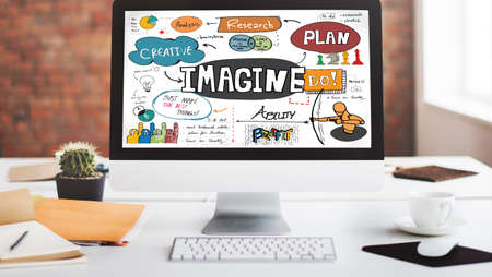 imaginaci�n: Imag�nese imaginaci�n esperar bosquejo creativo Concepto Foto de archivo