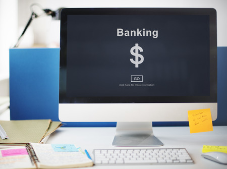 Computer with banking concept Stok Fotoğraf - 109217715
