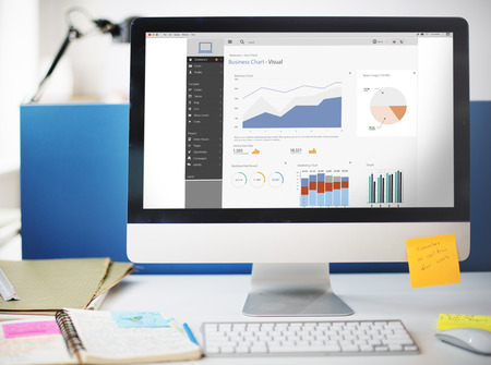 ビジネス グラフの視覚的なグラフィックス レポートの概念
