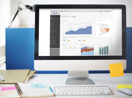 비즈니스 차트 비주얼 그래픽 보고서 개념 스톡 콘텐츠