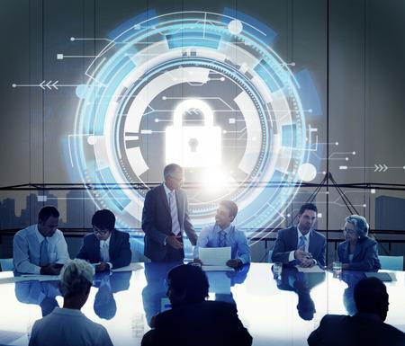 기술 보안 보호 자물쇠 허드 개념 스톡 콘텐츠