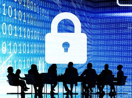 secret code: Business People Binary Code Lock Security Cocnept