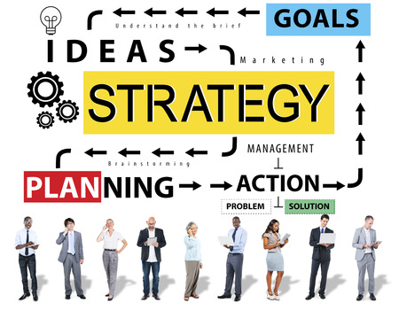 an action: Strategy Ideas Planning Action Goals Concept Stock Photo