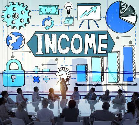 iluminado a contraluz: Ingresos Pago Dinero Beneficio concepto de sueldos Foto de archivo