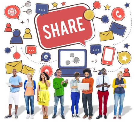 a portion: Share Sharing Portion Media Connection Feedback Concept Stock Photo