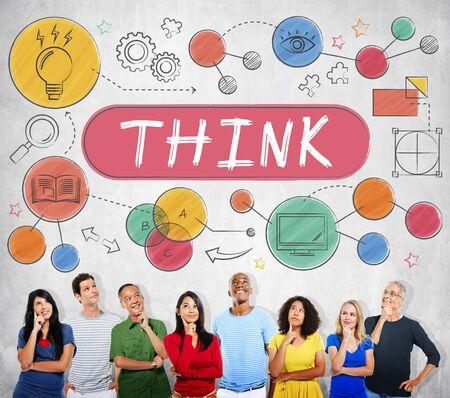 imaginacion: Piense Pensamiento creativo de planificaci�n concepto de Estrategia