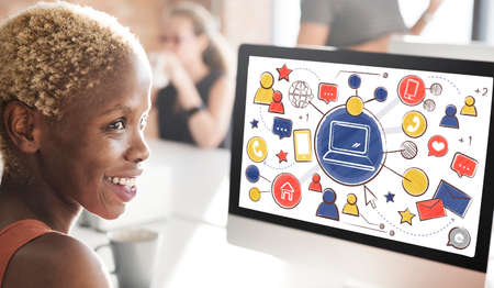 african woman at work: Technology Connection Media People Graphics Concept Stock Photo