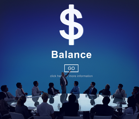 Board meeting with financial balance concept
