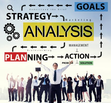 african business man: Analysis Information Data Planning Strategy Analytics Concept Stock Photo