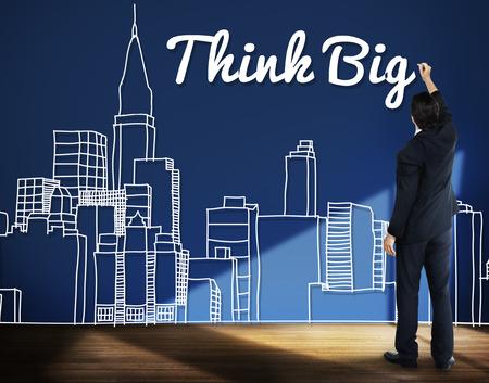 optimism: Think Big Faith Attitude Inspiration Optimism Concept