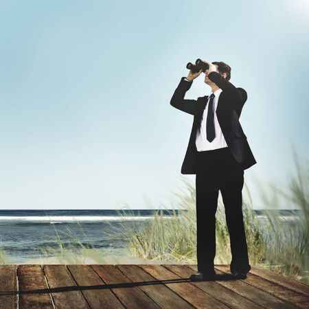 Businessman Alone Looking Explore Searching Concept Stock Photo