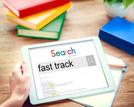 fast track: Fast Track Advancement Achievement Progress Concept