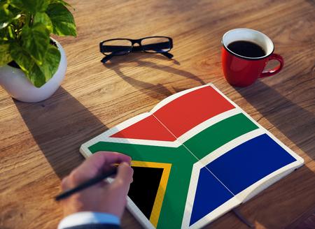 南アフリカ共和国旗愛国心南アフリカ プライド統一コンセプト 写真素材