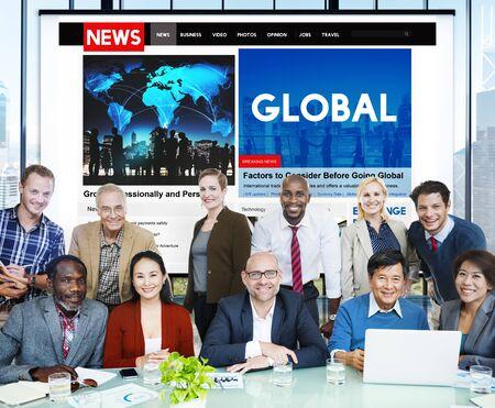 INTERNATIONAL BUSINESS: Concepto mundial de comunicación de la Comunidad Global Foto de archivo