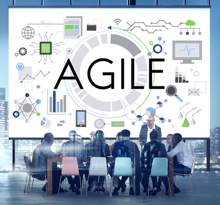 software solution: Agile Nimble Quick Innovation Reassessment Tech Concept Stock Photo