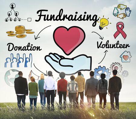 fundraising: Fundraising Donation Heart Charity Welfare Concept
