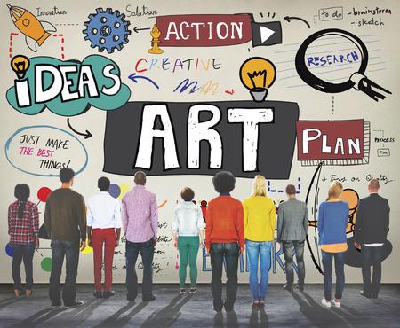 People admiring an art concept
