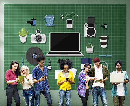 new age music: Technology Gadget Media Icons Concept