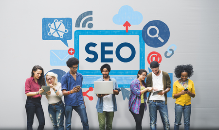 Optimisation des moteurs de recherche Business Data Digital Concept Banque d'images - 53963743