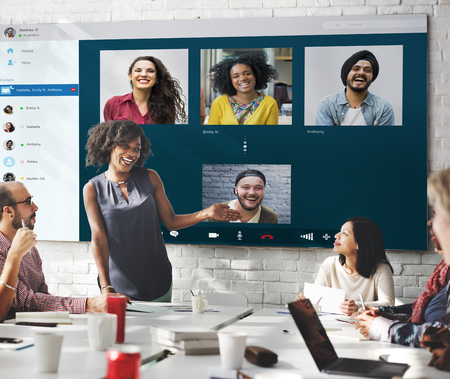 chat online: Group Friends Video Chat Connection Concept